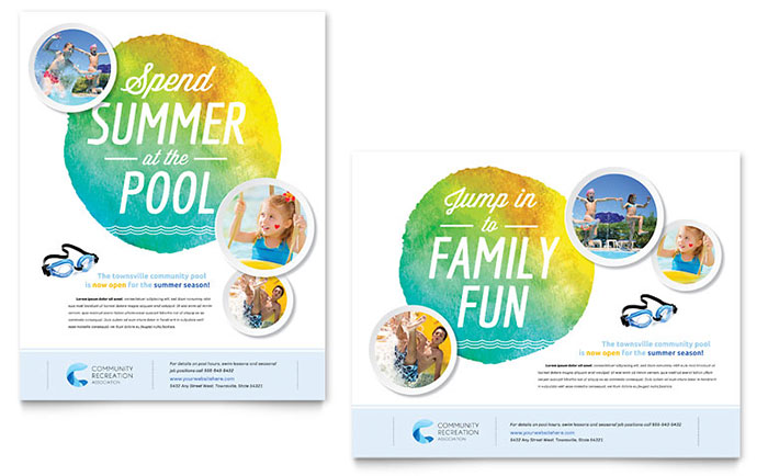 Community swimming pool poster template design for Pool design templates