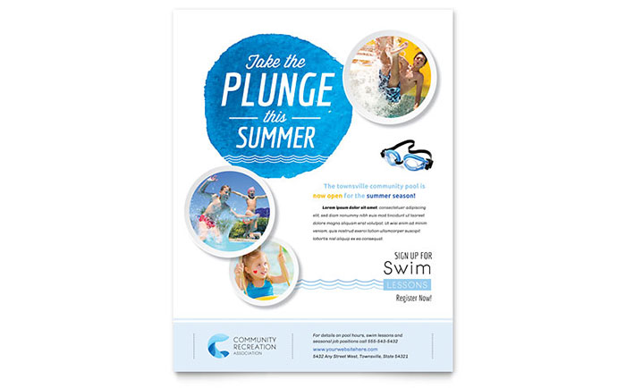 Community swimming pool flyer template design for Pool design templates