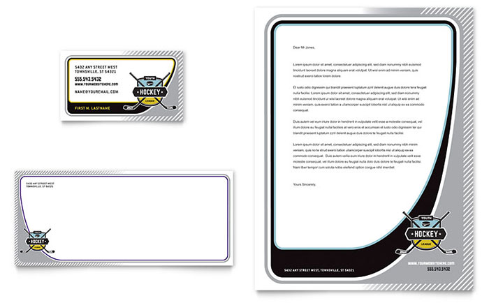 Junior Hockey Camp Business Card & Letterhead Template Design Download - InDesign, Illustrator, Word, Publisher, Pages