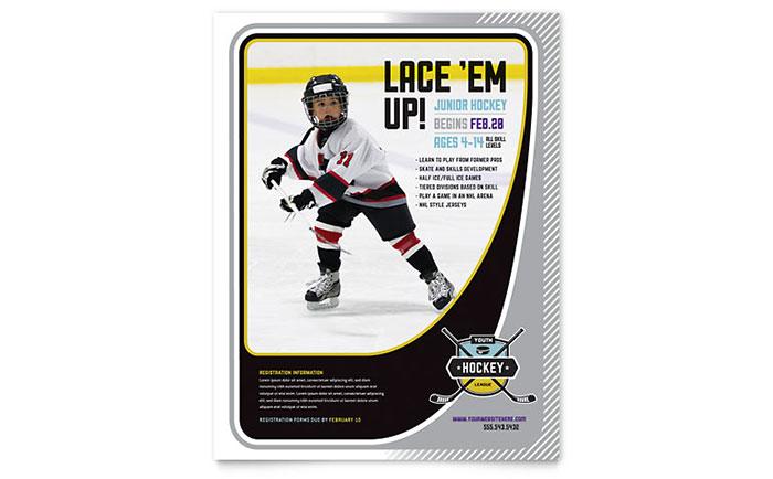 junior hockey camp flyer template design