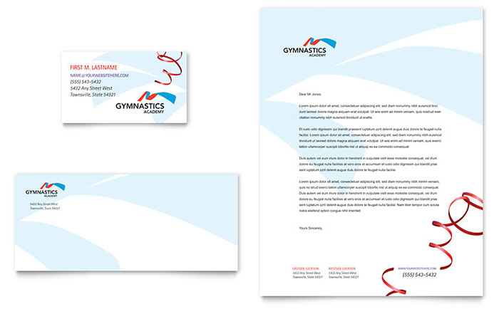Gymnastics Academy Business Card & Letterhead Template Design Download - InDesign, Illustrator, Word, Publisher, Pages