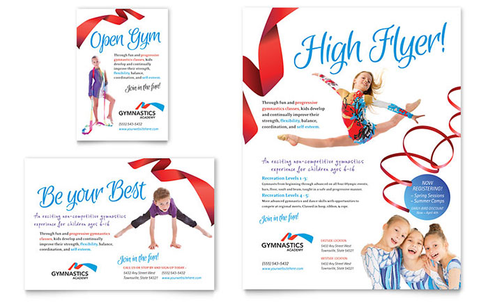 Gymnastics Academy Flyer & Ad Template Design Download - InDesign, Illustrator, Word, Publisher, Pages
