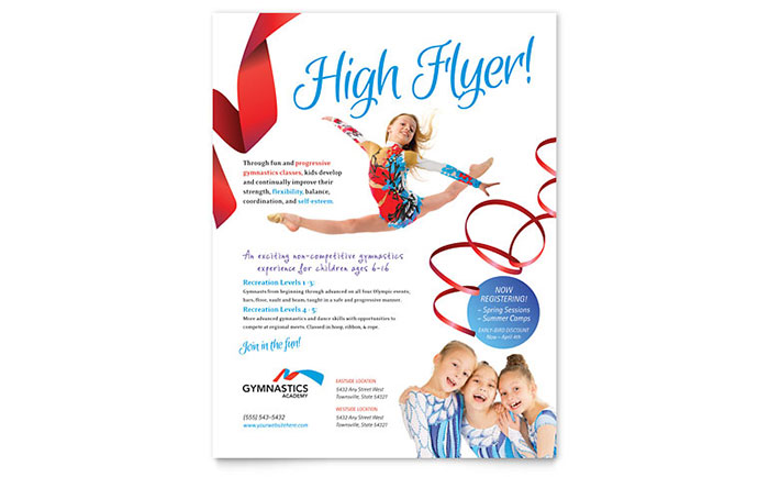Gymnastics Academy Flyer Template Design Download - InDesign, Illustrator, Word, Publisher, Pages