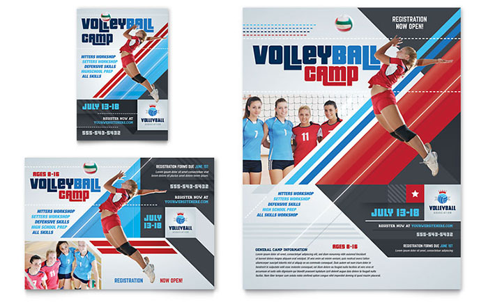 Volleyball camp flyer ad template design for Sports camp brochure template