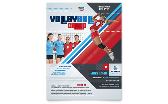 Volleyball Camp Flyer Template Design Sf0261501 on Real Estate Flyer Templates Free Microsoft Word