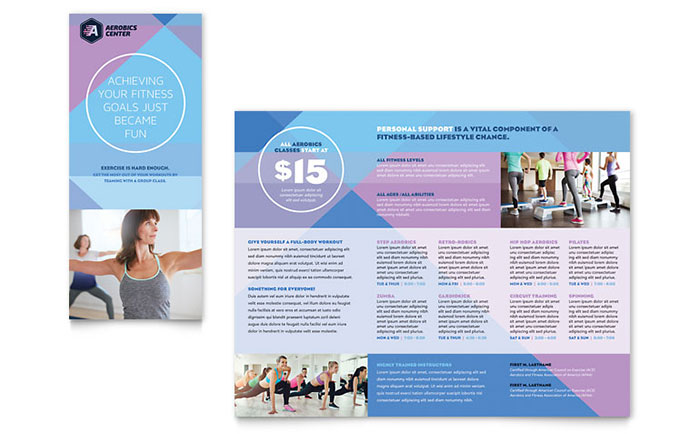 Fitness Brochure Template | Aerobics Center Brochure Template Design