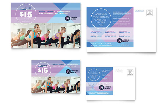 Aerobics center postcard template design for 6x4 postcard template