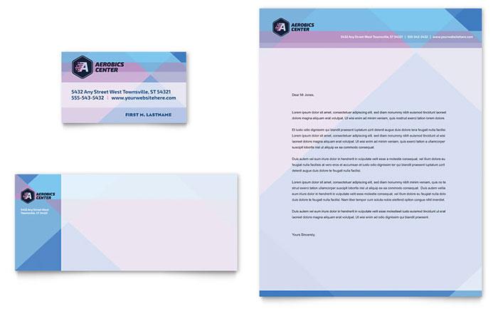 aerobics center business card  u0026 letterhead template design