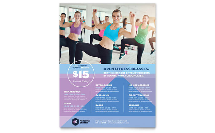 Aerobics Center Class Flyer Template Design Download - InDesign, Illustrator, Word, Publisher, Pages