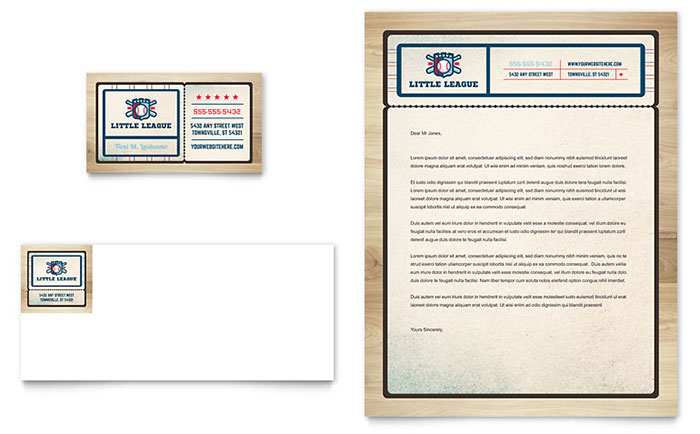 baseball league business card letterhead template design