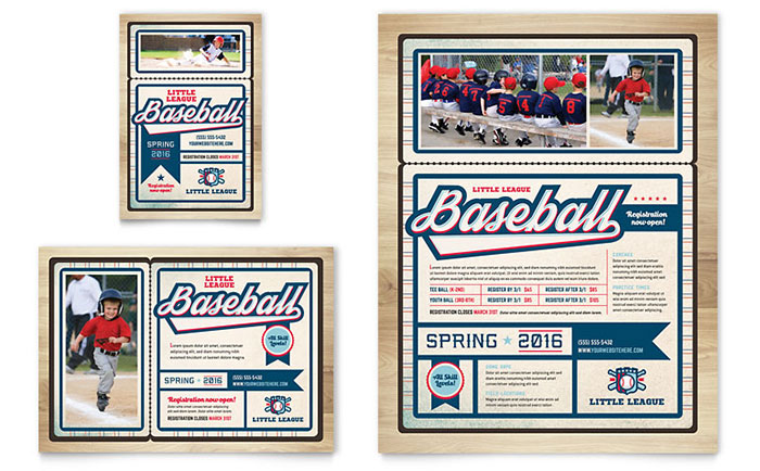 Baseball League Flyer & Ad Template Design Download - InDesign, Illustrator, Word, Publisher, Pages