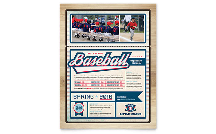 Baseball League Flyer Template Design Download - InDesign, Illustrator, Word, Publisher, Pages