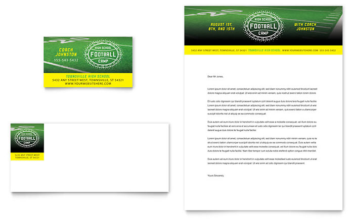Football training business card letterhead template design flashek