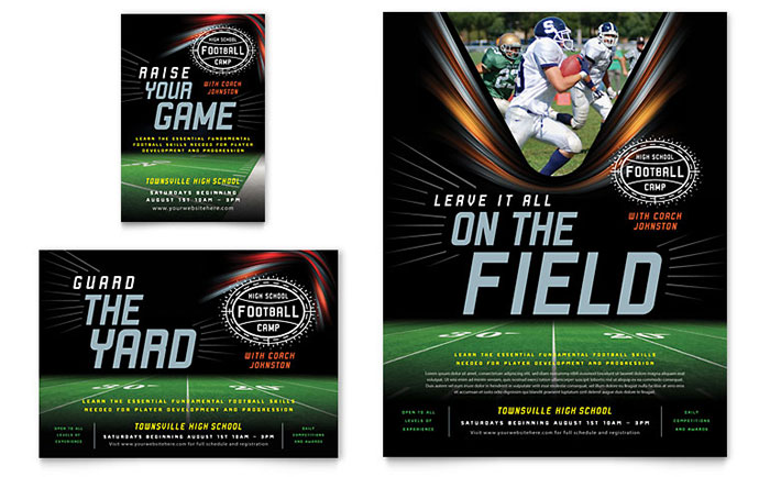 Football training flyer ad template design for High school football program template