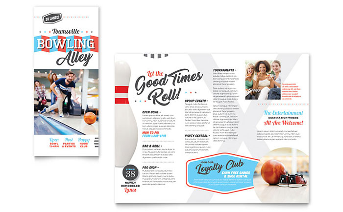 8 5x11 tri fold brochure template - bowling brochure template design