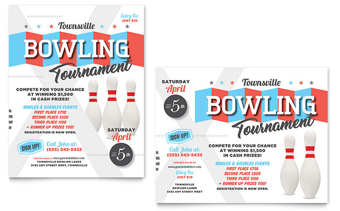Bowling Poster Template Design - InDesign, Illustrator, Word, Publisher, Pages