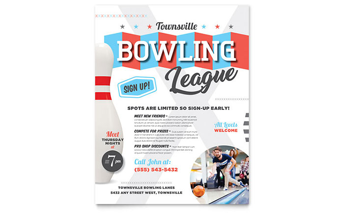 StockLayouts  Bowling Flyer Template Free