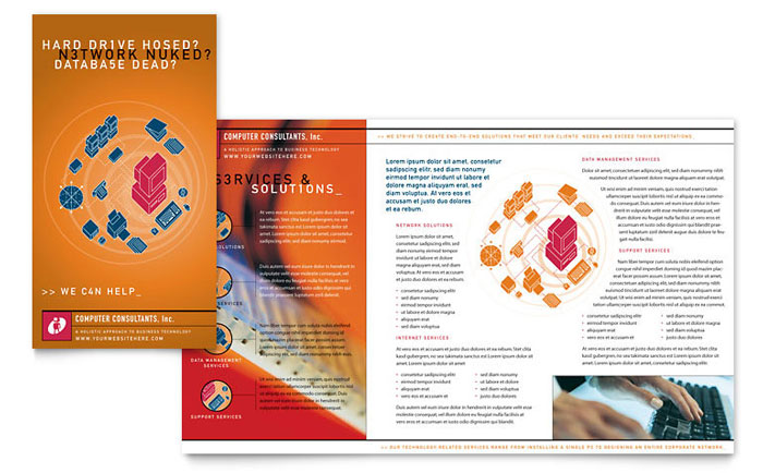 Computer Consulting Brochure Template Design Download - InDesign, Illustrator, Word, Publisher, Pages