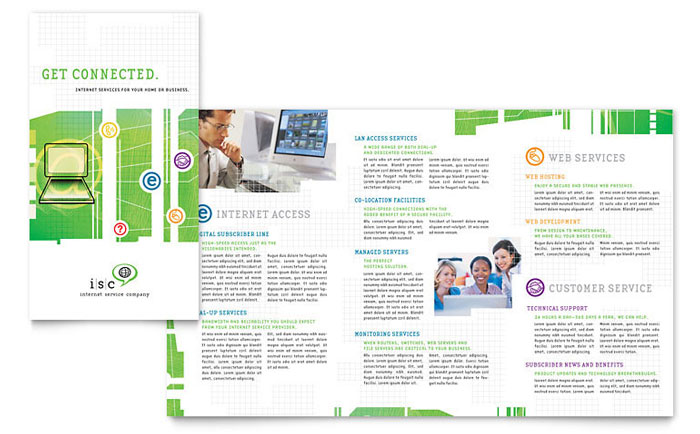 Isp internet service brochure template design for Brochure design services