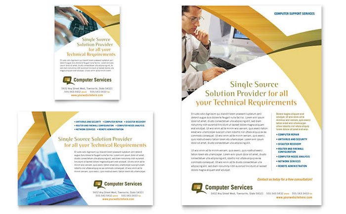 Computer Services & Consulting Flyer & Ad Template Design Download - InDesign, Illustrator, Word, Publisher, Pages