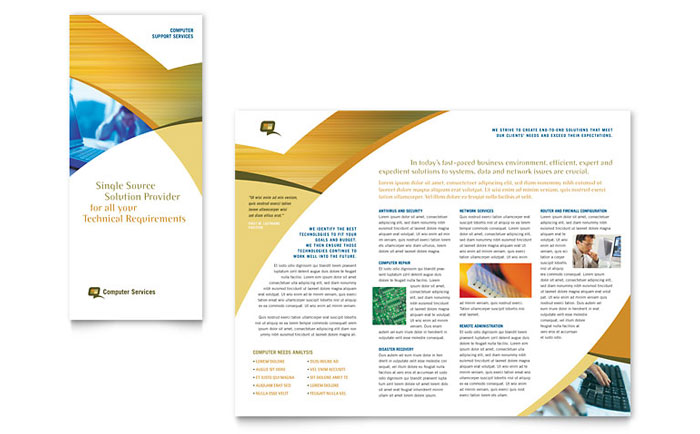 3 Fold Brochure Template | Computer Services Consulting Tri Fold Brochure Template Design