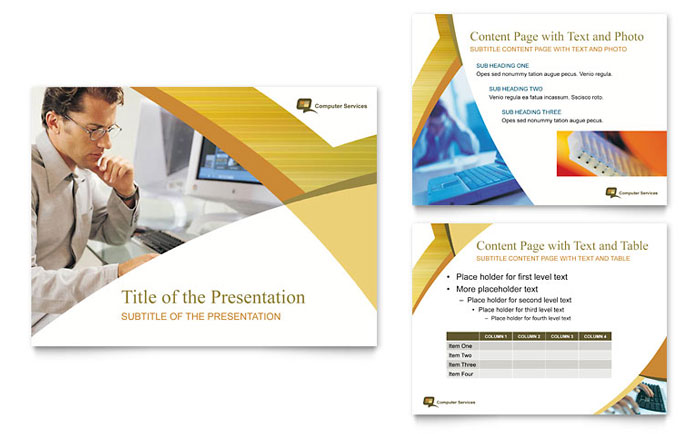 computer services & consulting powerpoint presentation template design, Presentation templates