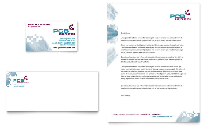 High-Tech Manufacturing Business Card & Letterhead Template Design Download - InDesign, Illustrator, Word, Publisher, Pages