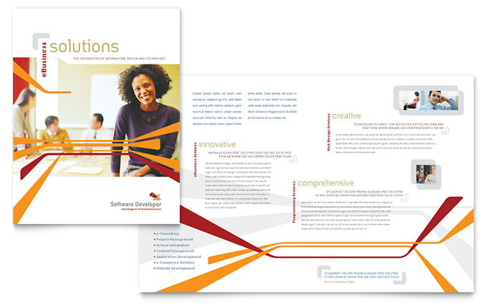 software for designing brochures software developer brochure template design