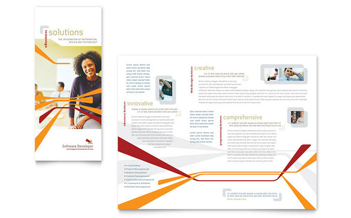 Software developer tri fold brochure template design for Software for designing brochures