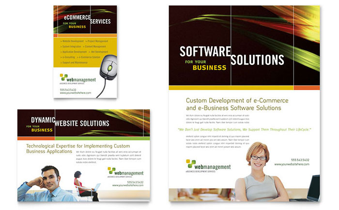 Internet Software Flyer & Ad Template Design Download - InDesign, Illustrator, Word, Publisher, Pages