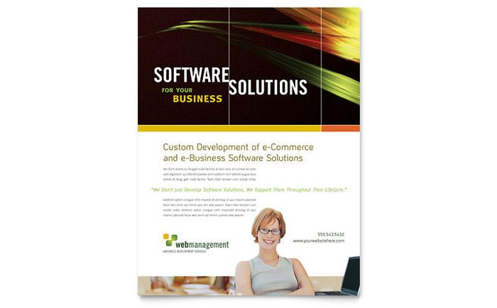 Internet software flyer template design for Software brochure templates