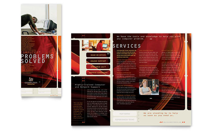 computer repair brochure template design