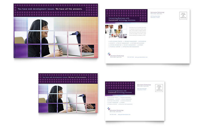 information technology consultants postcard template design
