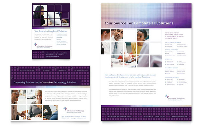 Information technology consultants flyer ad template design for Technology brochure templates