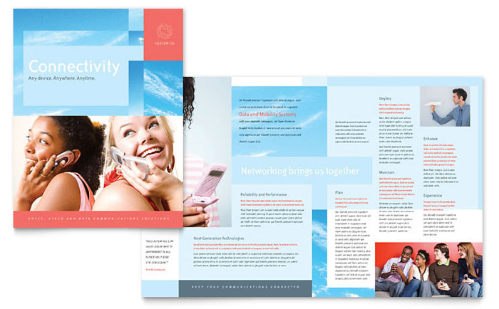 communications company brochure template design
