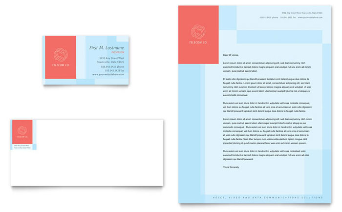 Communications Company Business Card & Letterhead Template Design