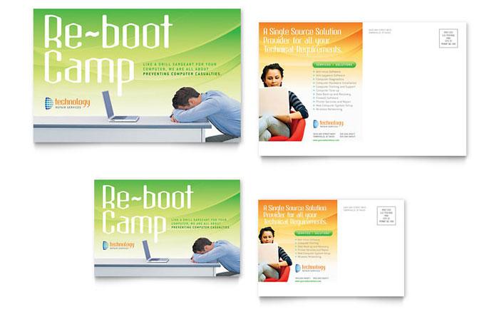computer it services postcard template design