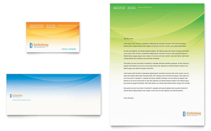 Computer it services business card letterhead template for Computer business cards templates free