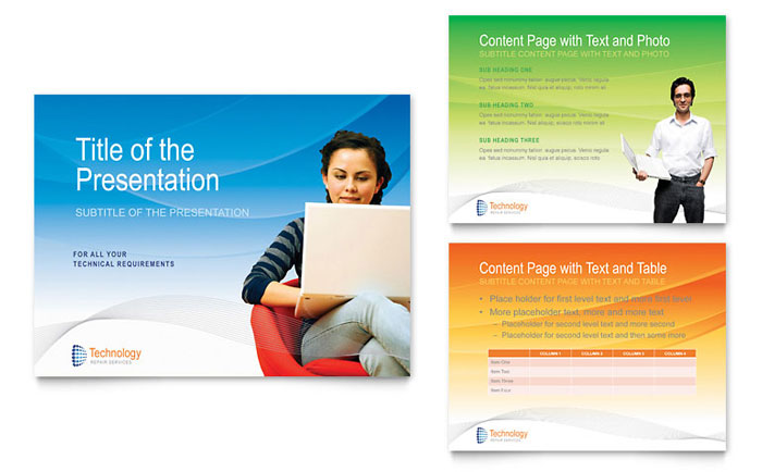 Computer it services powerpoint presentation template design for It services brochure template