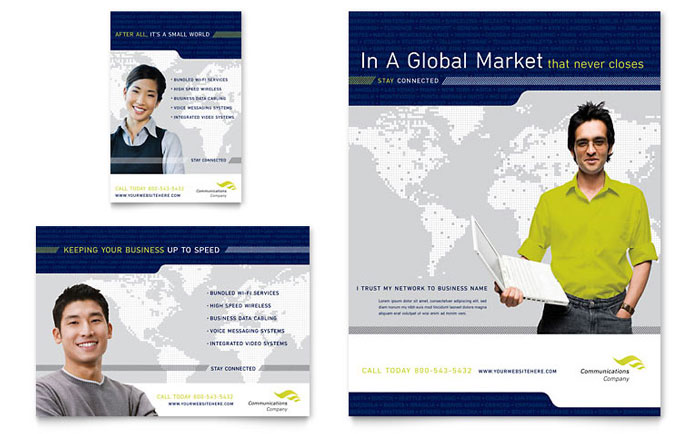 Global Communications Company Flyer & Ad Template Design Download - InDesign, Illustrator, Word, Publisher, Pages