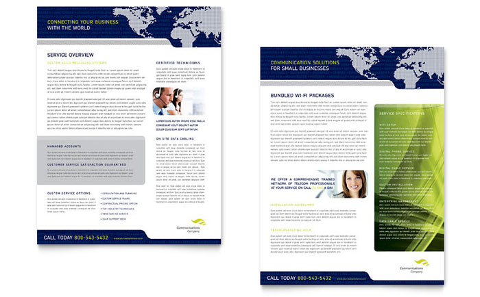 Global Communications Company Datasheet Template Design Download - InDesign, Illustrator, Word, Publisher, Pages