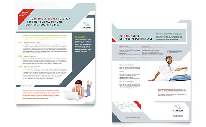 Computer Solutions Datasheet Template Download - InDesign, Illustrator, Word, Publisher, Pages