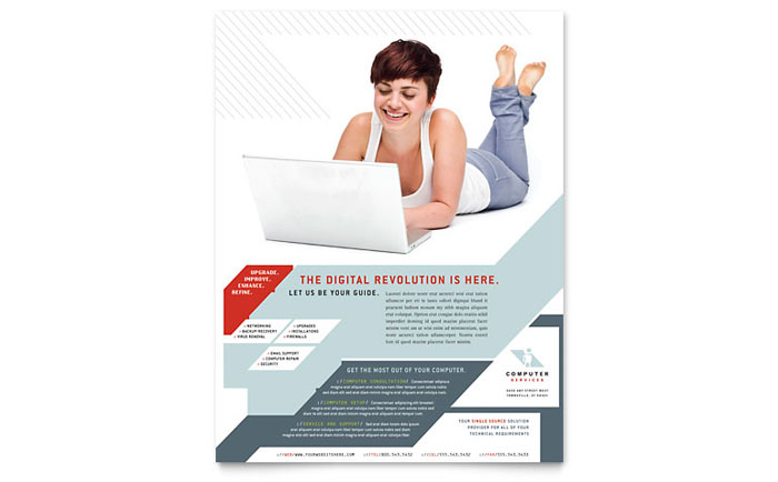 Computer Solutions Flyer Template Design - InDesign, Illustrator, Word, Publisher, Pages