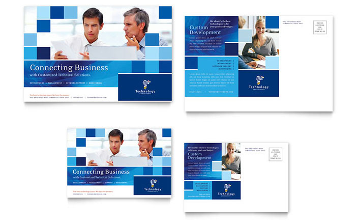 technology consulting  u0026 it postcard template design