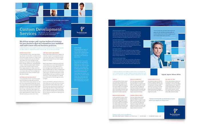 technology consulting it datasheet template design