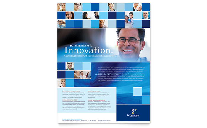 Technology Consulting IT Flyer Template Design - Technology brochure template