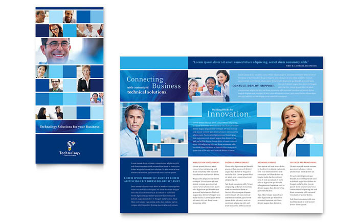 Technology consulting it tri fold brochure template design for It services brochure template