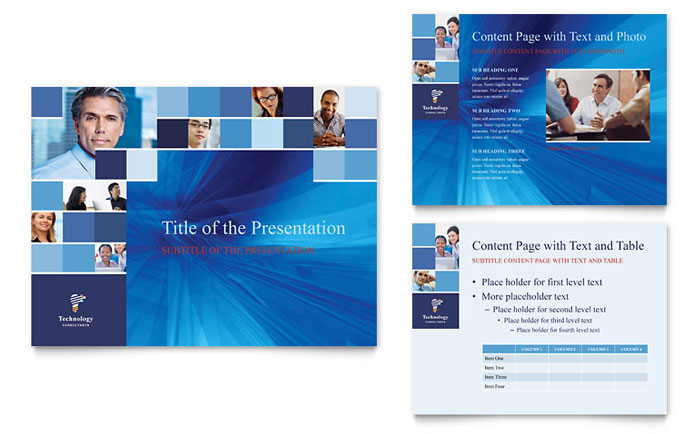 technology consulting & it powerpoint presentation template design, Powerpoint templates