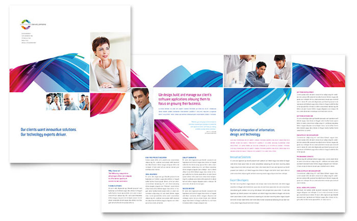 Software solutions brochure template design for Pdf brochure design templates