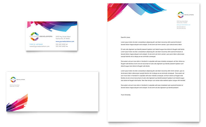 Software Solutions Business Card  Letterhead Template Design